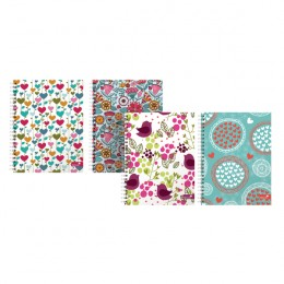 Silvine Marlene West Hearts and Flowers A5 Plus Twin Wire Notebook [Pack of 4]