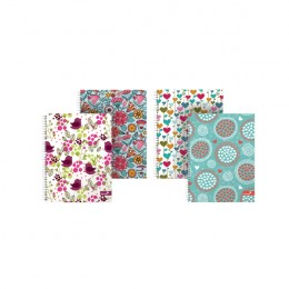 Silvine Marlene West Hearts and Flowers A4 Plus Twin Wire Notebook [Pack of 4]