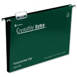 CrystalFile Extra Suspension File Foolscap 50mm Green [Pack of 25]
