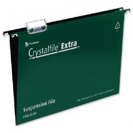 CrystalFile Extra Suspension File Foolscap Green [Pack of 25]