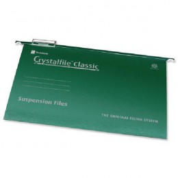 CrystalFile Foolscap Complete Suspension Files Green [Pack of 50]