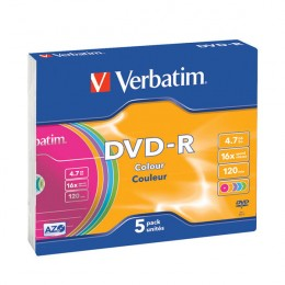 Verbatim DVD-R 16x Slim Case [Pack of 5]