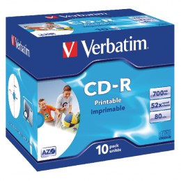Verbatim CD-R 700Mb, 80 Minute Printable [Pack of 10]