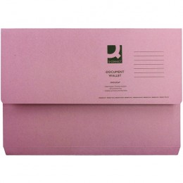 Document Wallet Foolscap Pink 220g [Pack of 50]