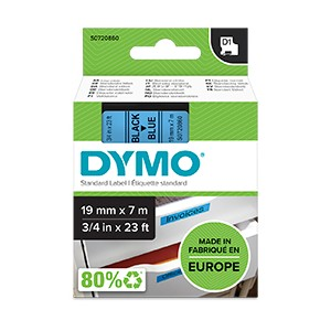 Dymo 45806 19mm x 7m Black on Blue Tape
