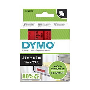 Dymo 53717 24mm x 7m Black on Red Tape