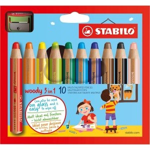 Stabilo Woody 3-in-1 Colouring Pencils with Sharpener [Pack of 10]