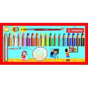 Stabilo Woody 3-in-1 Colouring Pencils, Wax Crayons and Water Colour with Sharpener [Pack of 18]