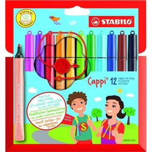 Stabilo Cappi Felt Pens with Cap Ring [Pack of 12]