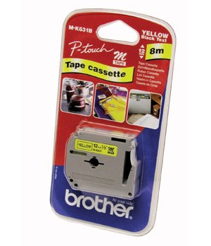 Brother MK631BZ Black on Yellow 8m x 12mm Plastic Tape