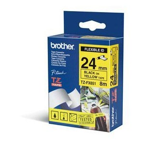Brother TZEFX651 Black on Yellow 8m x 24mm Flexi Tape