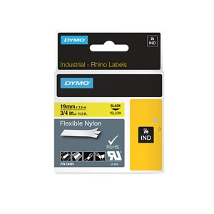 Dymo 18491 19mm x 3.5m Black On Yellow Flexible Nylon Tape - S0718090