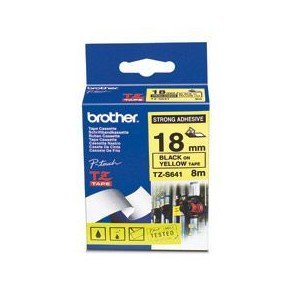 Brother TZES641 Black on Yellow 8m x 18mm Strong Adhesive Tape