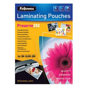 Fellowes A4 250 micron Laminating Pouch [Pack of 100]