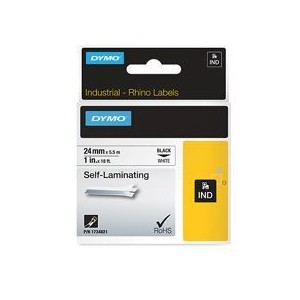 Dymo 1734821 24mm Black on White Self Laminating Tape - S0773860