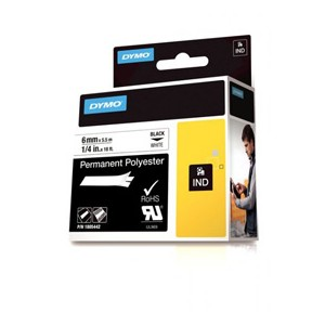 Dymo 1805442 6mm Black on White Tape