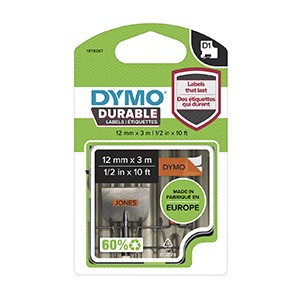 Dymo 1978367 D1 Durable 12mm x 3M Tape Black on Orange