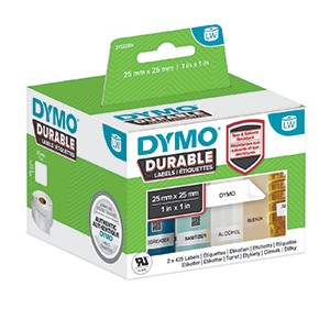 Dymo 1933083 LW Durable square multi-purpose 25mm x 25mm Black on White