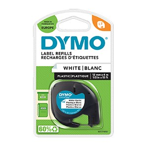 Dymo S0721660 12mm x 4m Black On White Plastic Tape