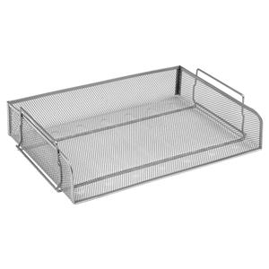 Mesh Letter Tray Scratch Resistant Stackable Side Load Landscape Foolscap Silver [Alternative Picture 2]