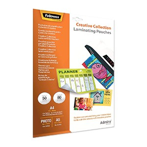 Fellowes Admire Creative Collection Laminating Pouches [Pack of 50]