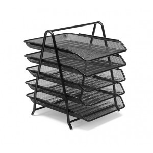 Mesh 5-Tier Letter Tray Black