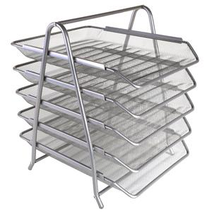 Mesh 5-Tier Letter Tray Silver