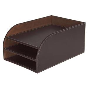 Faux Leather 3-Tier Letter Tray