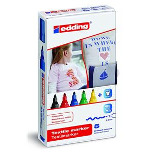 Edding 4500 Textile Marker Assorted [Pack of 5]