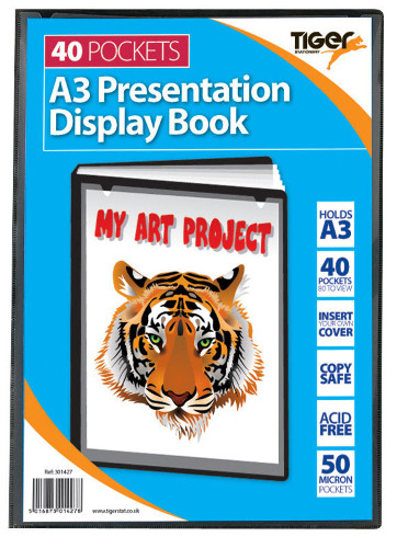 Tiger Presentation Display Book 40 Pockets A3 Size
