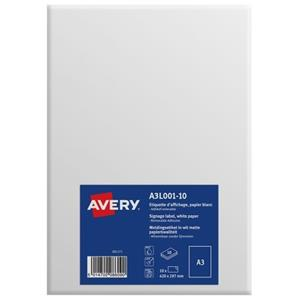 Avery A3L001-10 Standard Display Labels A3 Removable [Pack of 10]