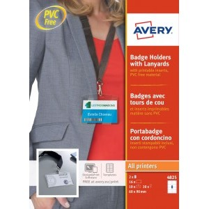 Avery Badge Holders with Lanyards 60x90mm [Pack of 10]