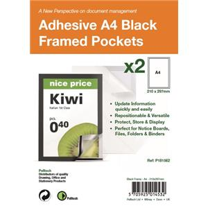 Pelltech Self Adhesive A4 Black Display Frames with Magnetic Closure [Pack of 2]