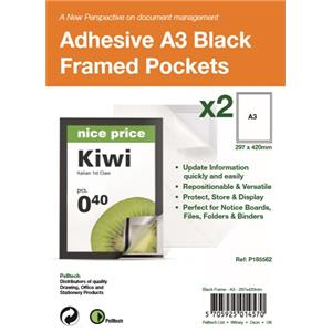 Pelltech Self Adhesive A3 Black Display Frames with Magnetic Closure [Pack of 2]