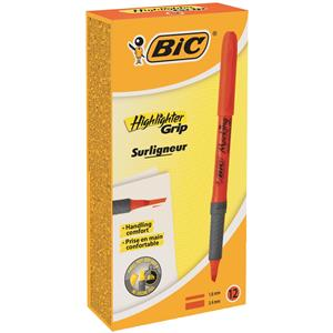 Bic Briteliner Grip Chisel Tip Highlighter Pen Orange [Pack of 12]