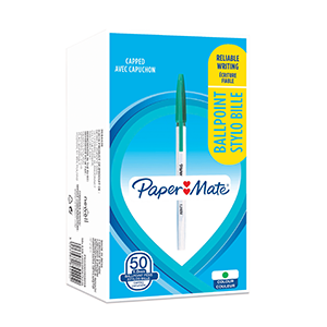PaperMate Ballpoint Stick 1.0mm Pen Green [Pack of 50]