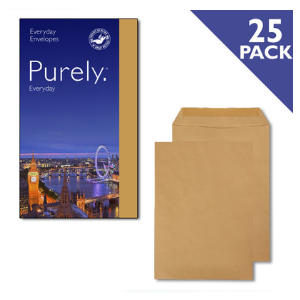 Purely Everyday Pocket Manilla Gummed C4 90GSM [Pack of 25]