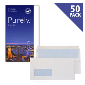 Purely Everyday Wallet White Self Seal Win 90GSM [Pack of 50]