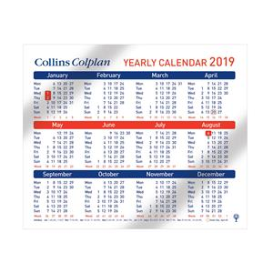 Collins A4 Desk Yearly Calendar 2019