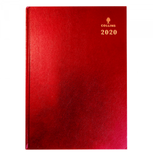 Collins A4 Desk Diary Day to Page 2020 Red