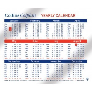 Collins Colplan A4 Yearly Calendar 2020