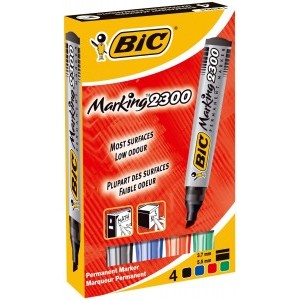 Bic Marking 2300 Permanent Marker Assorted [Wallet of 4]
