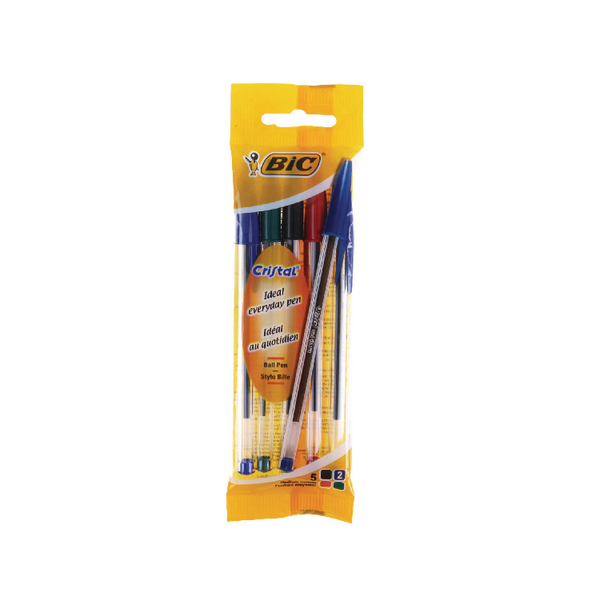 Bic Cristal Medium Ball Pens Assorted [Pack of 4]