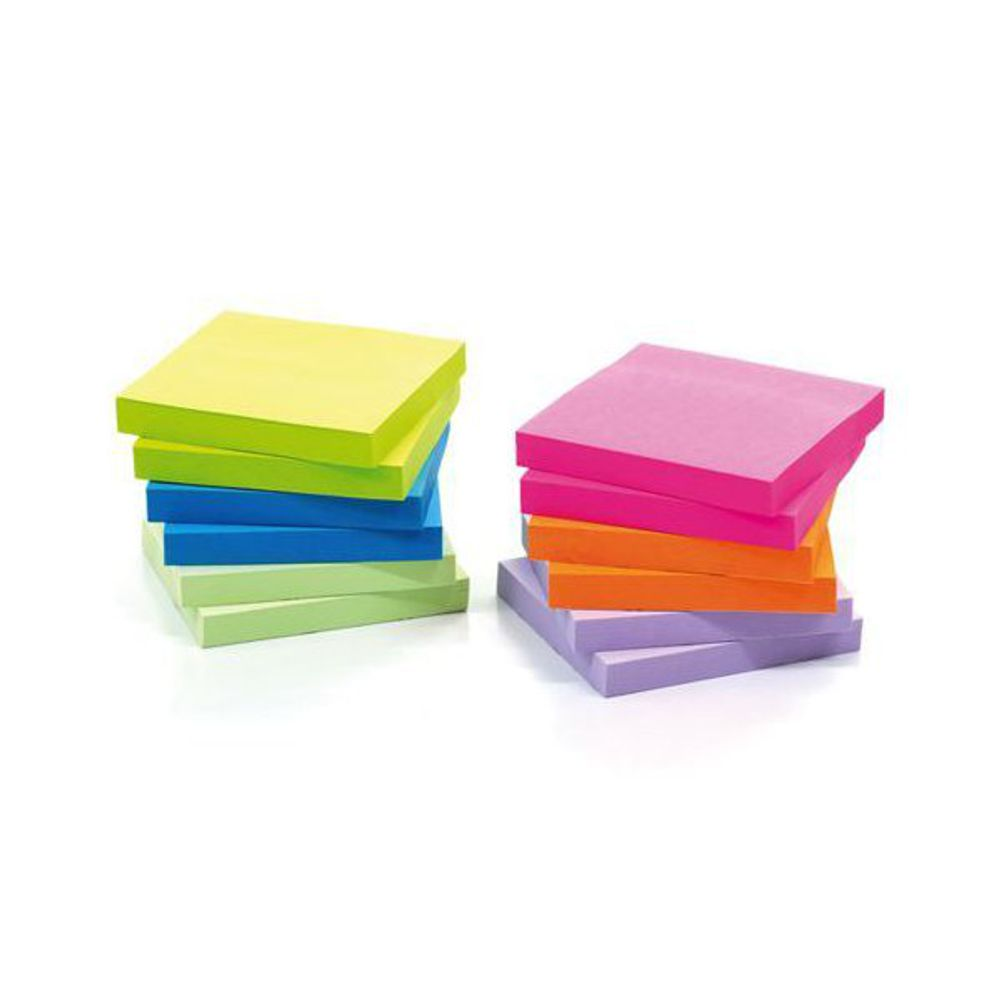 Initiative Extra Sticky Z-Notes 4 Assorted Neon [Pack of 6]