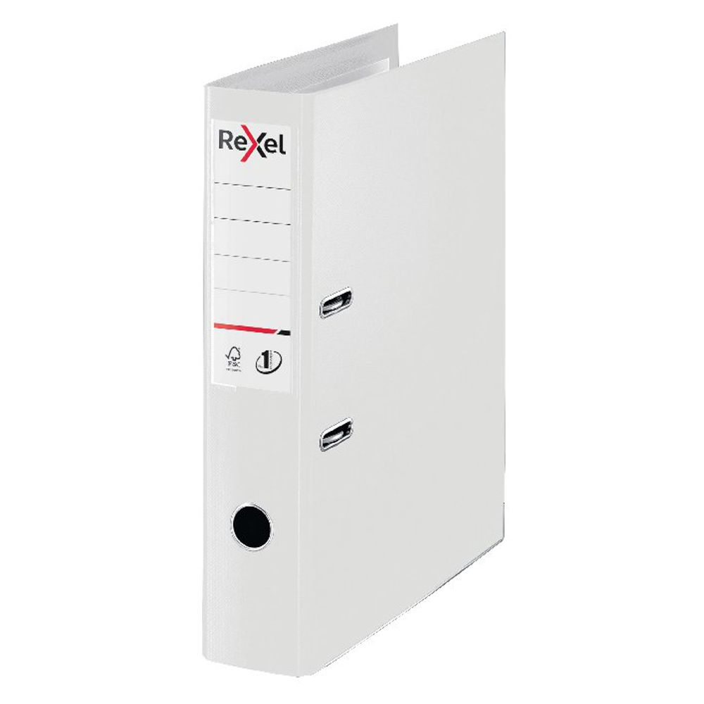 Rexel Choices 75mm Lever Arch File Polypropylene Foolscap White 2115515
