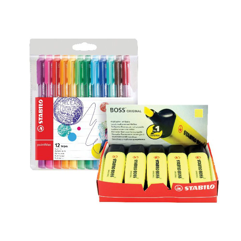 Stabilo Boss Highlighter Yellow with Four Free Pens [Pack of 10+4]
