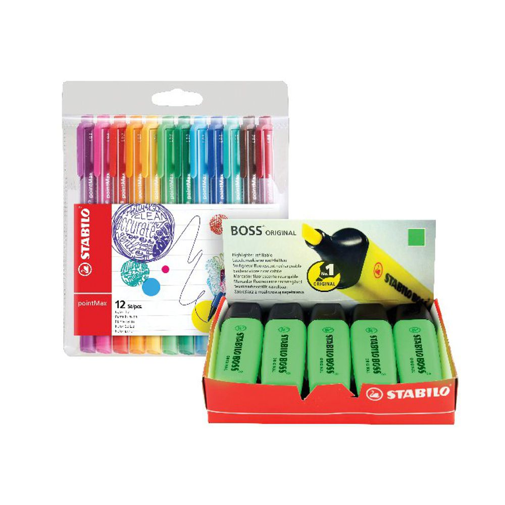 Stabilo Boss Highlighter Green with Four Free Pens [Pack of 10+4]