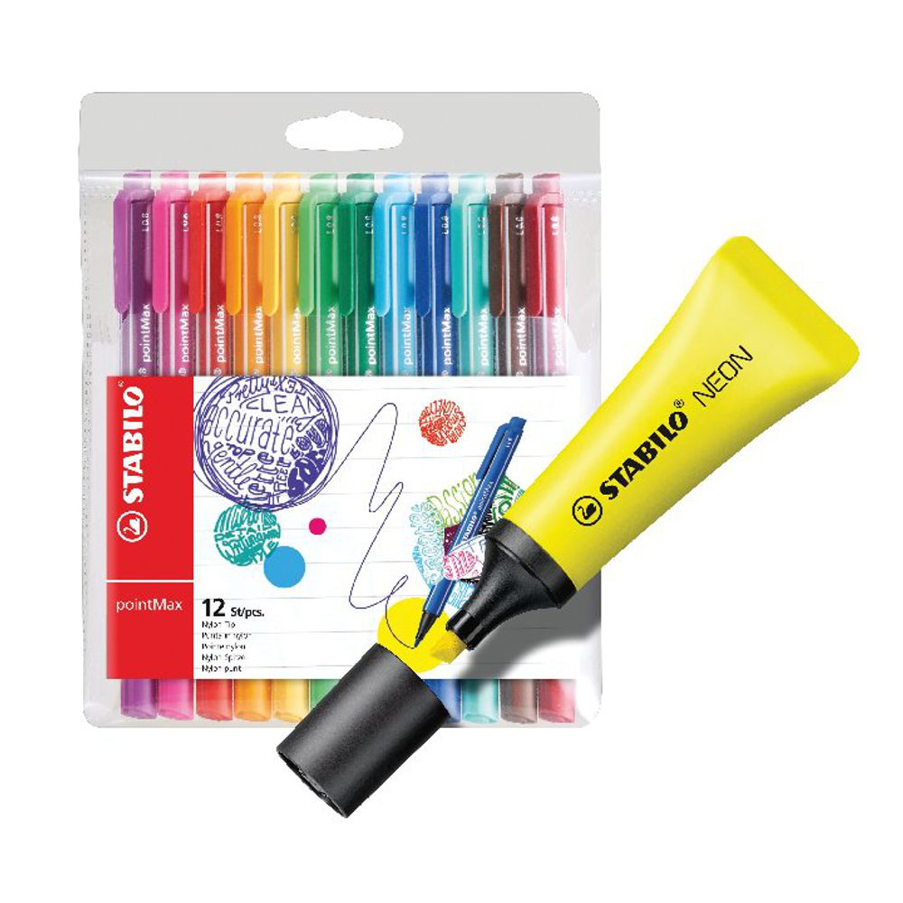 Stabilo Boss Highlighter Neon Yellow with Four Free Pens [Pack of 10+4]
