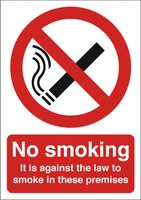 No Smoking Sign:No Smoking (Against the Law) A4 Self Adhesive