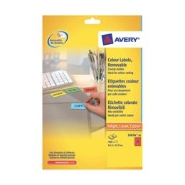 Avery Coloured Labels Laser 24/Sheet 63.5x33.9mm Red [480 Labels]